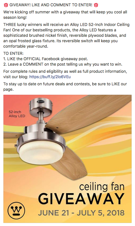 Facebook Summer Ceiling Fan GIVEAWAY